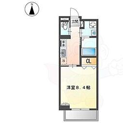 JR阪和線 堺市駅 徒歩7分の賃貸マンション 2階ワンルームの間取り
