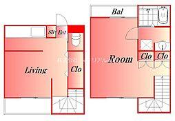 京急本線 新馬場駅 徒歩6分の賃貸マンション 2階1LDKの間取り
