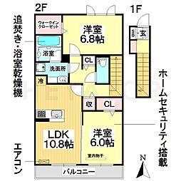 愛知県名古屋市南区丹後通1丁目の賃貸アパートの間取り