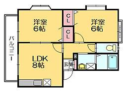 ピア門松D[2階]の間取り