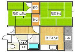 大阪府高槻市緑町の賃貸マンションの間取り
