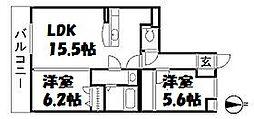 福岡県福岡市早良区原6丁目の賃貸マンションの間取り