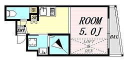 KOUMASTER NISHIKUJO 3階ワンルームの間取り
