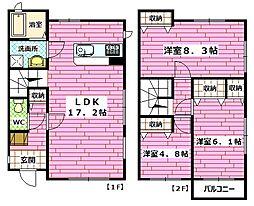 [テラスハウス] 広島県広島市安佐南区長束西3丁目 の賃貸【/】の間取り