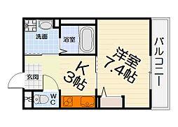 JR阪和線 鳳駅 徒歩3分の賃貸マンション 3階1Kの間取り
