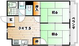 福岡県北九州市小倉北区緑ケ丘1丁目の賃貸マンションの間取り