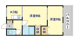 兵庫県姫路市飾磨区阿成の賃貸マンションの間取り