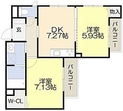 阪急京都本線 淡路駅 徒歩6分の賃貸マンション 3階2DKの間取り