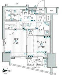 東武伊勢崎線 浅草駅 徒歩12分の賃貸マンション 8階1DKの間取り