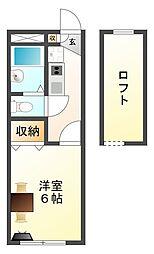 大阪府八尾市沼1丁目の賃貸アパートの間取り