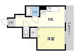 KマンションJIN2 2階1DKの間取り