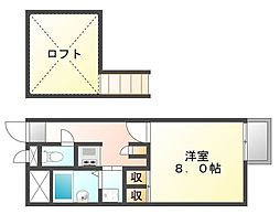 広島県福山市久松台3丁目の賃貸アパートの間取り
