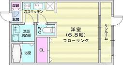 ベルティックII 2階1Kの間取り