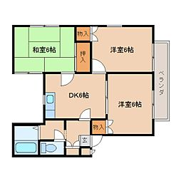 奈良県奈良市中山町の賃貸アパートの間取り