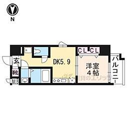 エステムコート京都東寺朱雀邸210 2階1DKの間取り