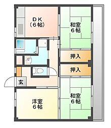 ビレッジハウス迎田2号棟[2階]の間取り