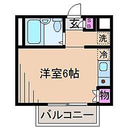 神奈川県川崎市中原区木月1の賃貸アパートの間取り