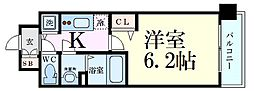 プレサンス新大阪クロステージ 5階1Kの間取り
