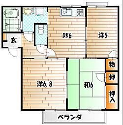 ドエル鴨生田C棟[2階]の間取り