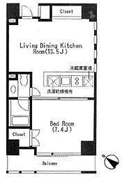 キャビンアリーナ赤坂 5階1LDKの間取り