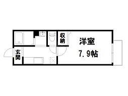 京都府京都市北区小山北玄以町の賃貸アパートの間取り