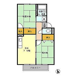 プレジール三宅A[1階]の間取り