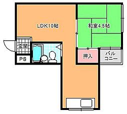 大阪府大阪市東住吉区湯里4丁目の賃貸マンションの間取り