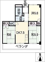 ヤスイマンション[1階]の間取り