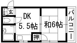 大阪府池田市城南2丁目の賃貸マンションの間取り