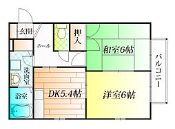 大阪府羽曳野市南恵我之荘7丁目の賃貸アパートの間取り