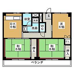 ビレッジハウス四郎丸3号棟[4階]の間取り