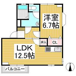 第七松本コーポ[1階]の間取り