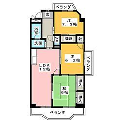 グランデール鶴田[1階]の間取り