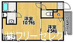 福岡県福岡市博多区吉塚7の賃貸アパートの間取り