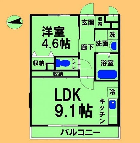 東京都町田市相原町の賃貸アパートの間取り