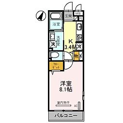 東武野田線 大宮公園駅 徒歩5分の賃貸アパート 2階1Kの間取り