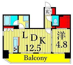 東京メトロ日比谷線 三ノ輪駅 徒歩6分の賃貸マンション 6階1LDKの間取り