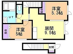 JR学園都市線 新琴似駅 徒歩9分の賃貸アパート 2階2DKの間取り