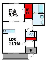JR鹿児島本線 古賀駅 徒歩17分の賃貸アパート 1階1LDKの間取り