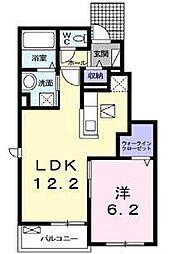 JR鹿児島本線 田代駅 萱方下車 徒歩3分の賃貸アパート 1階1LDKの間取り