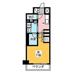 プラウドフラット菊川 2階1Kの間取り