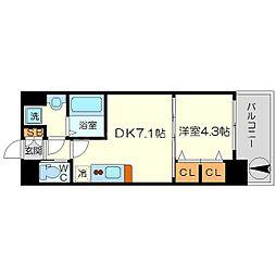 スプランディッド新大阪キャトル 14階1DKの間取り