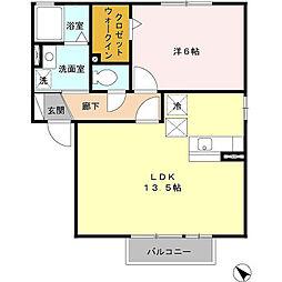 サンモールA[1階]の間取り