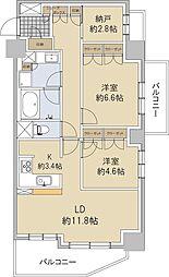 ザ・パークハウス仙台通町 3階2LDKの間取り