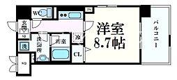 シェリール六甲道 4階1Kの間取り