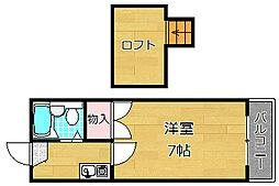 大阪府枚方市北船橋町の賃貸アパートの間取り