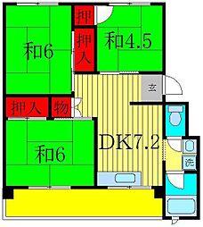 秋山コーポラス[4階]の間取り