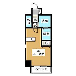 アレーヌコート金山 7階ワンルームの間取り