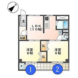 愛知県名古屋市北区鳩岡町1丁目の賃貸マンションの間取り
