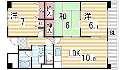 大阪府四條畷市蔀屋本町の賃貸マンションの間取り